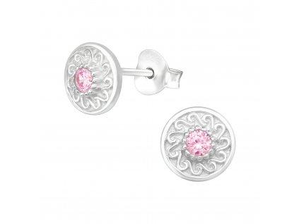 Dětské stříbrné náušnice růžové OLIVIE
