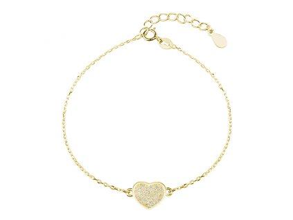 Stříbrný náramek SRDÍČKO GOLD pozlacený se zirkony od OLIVIE. Dárek z lásky pro ženu, manželku, partnerku, přítelkyni, sestru, dceru.