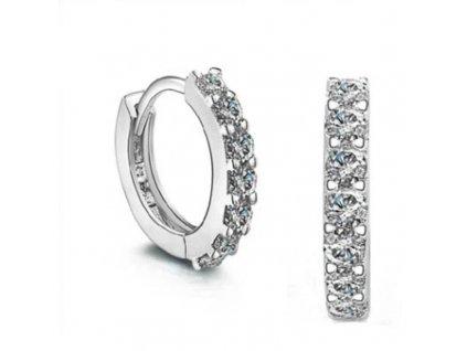 Stříbrné zirkonové kroužky s puncem ryzosti OLIVIE, náušnice.