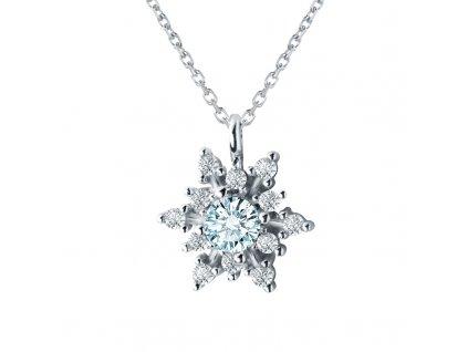 Stříbrný náhrdelník SNĚHOVÁ VLOČKA s modrým zirkonem OLIVIE