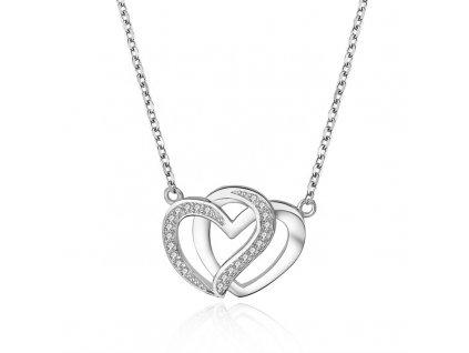 Stříbrný náhrdelník SPOJENÁ SRDCE od OLIVIE. Dárek z lásky.