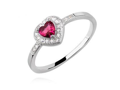 Stříbrný prsten ČERVENÉ SRDCE od OLIVIE