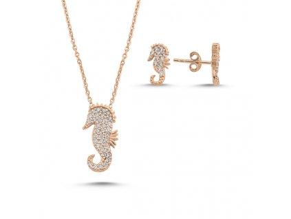 Sada stříbrných šperků MOŘSKÝ KONÍK ROSE růžově zlacený