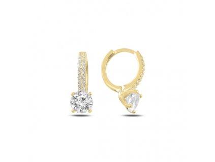 Stříbrné kroužkové náušnice GOLD pozlacené se zirkony od OLIVIE