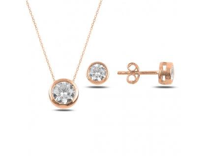 Sada stříbrných šperků ZIRKON ROSE růžově zlacená od OLIVIE