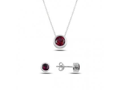 Sada stříbrných šperků ČERVENÝ ZIRKON od OLIVIE