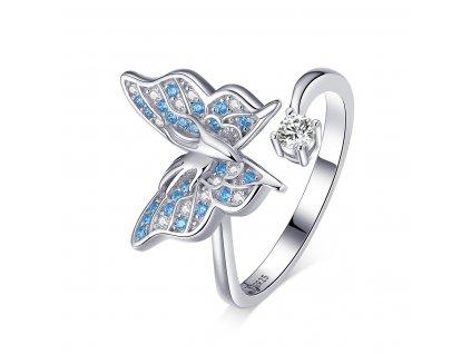 Stříbrný prsten MODRÝ MOTÝL, nastavitelná velikost. OLIVIE.