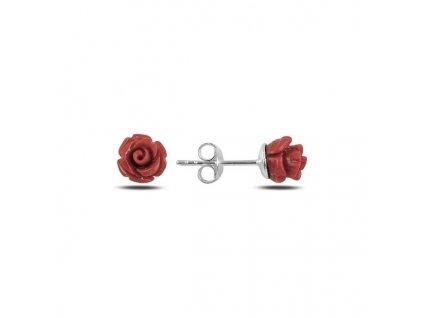 Stříbrné náušnice ROZÁRIE červená růžička od OLIVIE