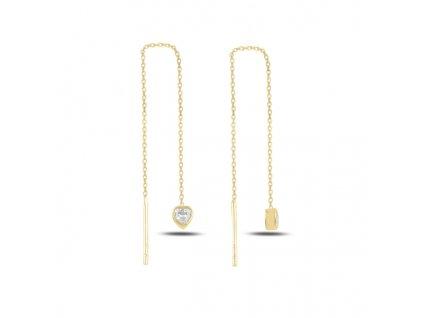 Řetízkové stříbrné náušnice SRDCE GOLD pozlacené OLIVIE