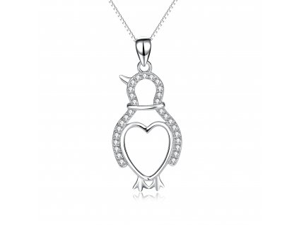 Stříbrný náhrdelník ZAMILOVANÝ TUČŇÁK se srdíčkem od OLIVIE