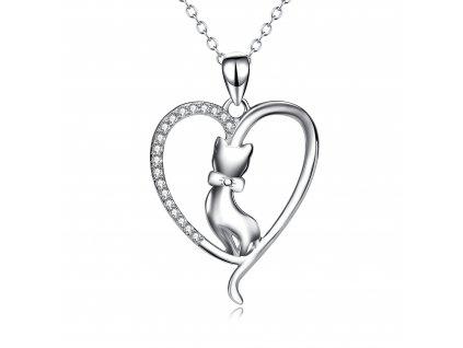 Stříbrný náhrdelník KOČKA V SRDCI od OLIVIE
