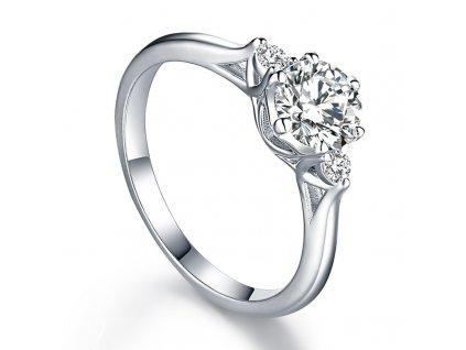 Nejkrásnější zásnubní stříbrný platinovaný prsten se zirkony BEVERLY od OLIVIE.cz