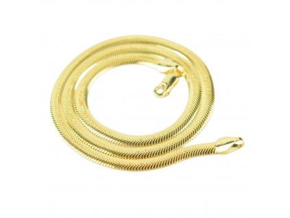 Luxusní stříbrný plochý náhrdelník GOLD pozlacený od olivie.cz 45 cm.
