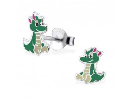 Dětské stříbrné náušnice krokodýl