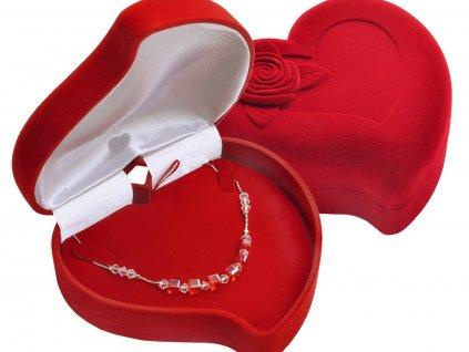 Dárková červená sametová krabička na šperky, náhrdelník, řetízek VELKÉ SRDCE od OLIVIE