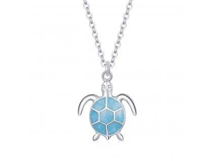 Stříbrný náhrdelník MODRÁ ŽELVA od OLIVIE