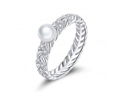 Stříbrný prsten s PERLOU od OLIVIE stříbro 925/1000 s puncem ryzosti