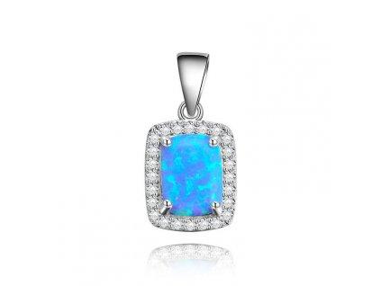 Stříbrný přívěsek modrý OPÁL se zirkony od OLIVIE