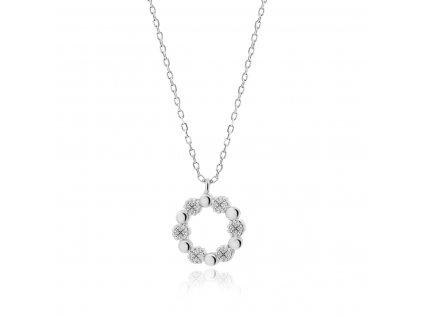 Stříbrný náhrdelník KRUH se zirkony od OLIVIE