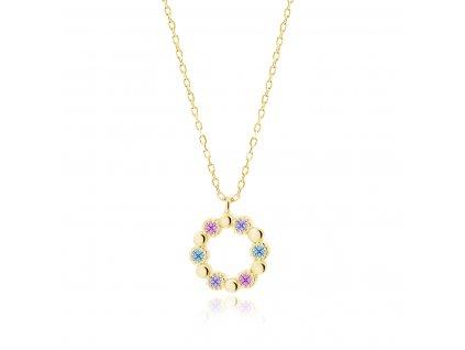 Stříbrný náhrdelník KRUH GOLD pozlacený s vícebarevnými zirkony od OLIVIE