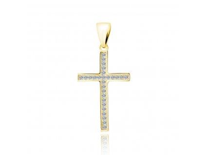Stříbrný pozlacený přívěsek křížek se zirkony od OLIVIE.