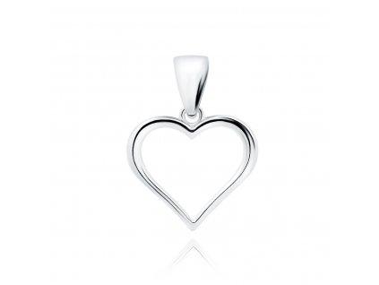 Stříbrný rhodiovaný přívěsek SRDCE od OLIVIE. Krásný dárek z lásky.