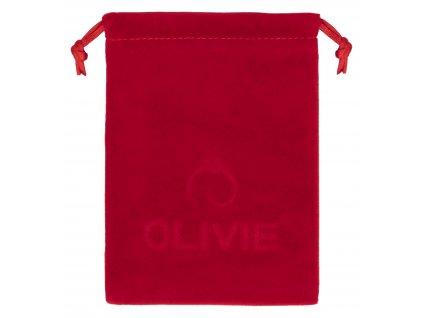 Červený sametový pytlík na šperky s logem OLIVIE