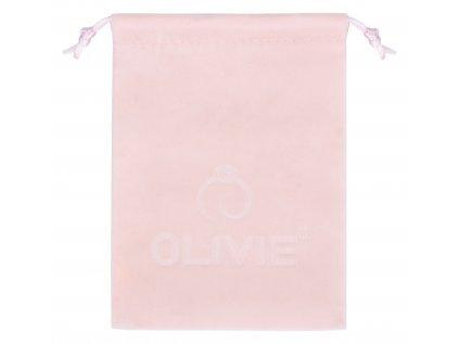 Růžový sametový pytlík na šperky s logem OLIVIE