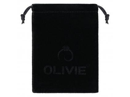 Černý sametový pytlík na šperky s logem OLIVIE