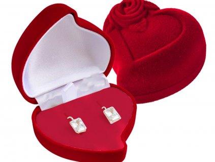 Dárková sametová krabička na náušnice SRDCE s růží