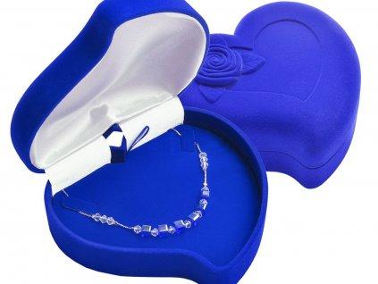 Dárková sametová krabička na šperky VELKÉ SRDCE MODRÉ