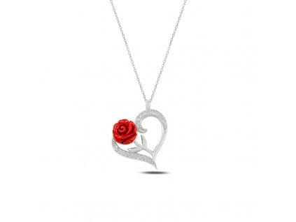 5336 Stříbrný náhrdelník RŮŽE & SRDCE  Ag 925; ≤2,5 g.