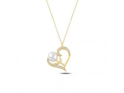 Stříbrný náhrdelník PERLA V SRDCI GOLD pozlacený od OLIVIE. Růžička v srdci. Krásný dárek z lásky.