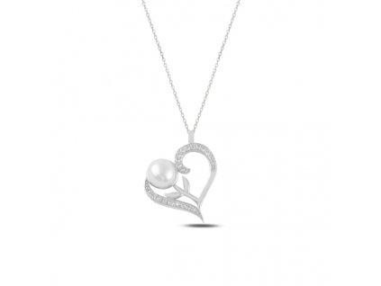 Stříbrný náhrdelník PERLA V SRDCI rhodiovaný od OLIVIE. Krásný dárek z lásky pro ženu k Vánocům, narozeninám, Valentýnu od OLIVIE.cz