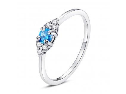 Stříbrný prstýnek BLUE modrý zirkon koupíte na OLIVIE.cz