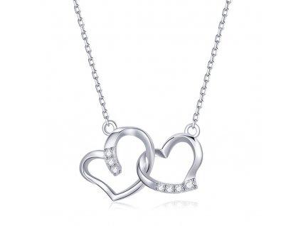 Stříbrný náhrdelník SPOJENÁ SRDCE stříbro ryzosti 925/1000 s platinovou povrchovou úpravou od OLIVIE. Krásný dárek z lásky k narozeninám , výročí nebo Vánocům.
