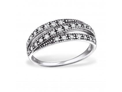 stříbrný prsten tři linie
