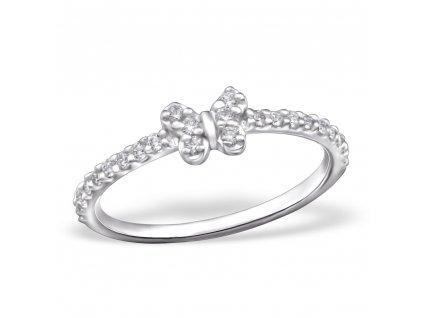 stříbrný prsten motýlek