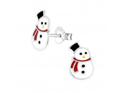 Dětské stříbrné náušnice sněhulák
