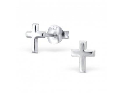 stříbrné náušnice křížek