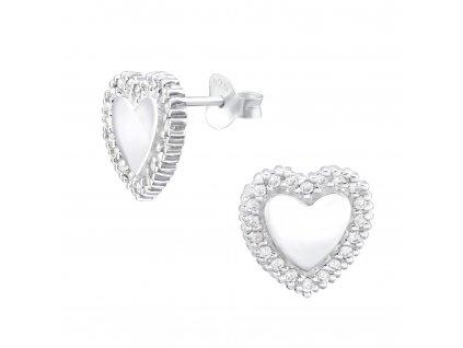 Stříbrné náušnice srdce se zirkony OLIVIE.CZ