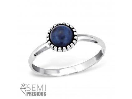 stříbrný prsten s polodrahokamem