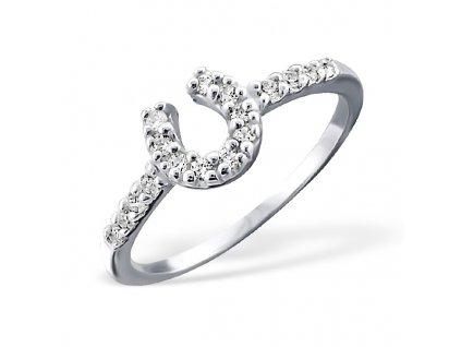 stříbrný prsten podkova