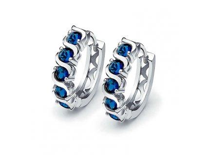 stříbrné náušnice modré