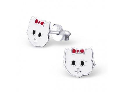 Dětské stříbrné náušnice kočky