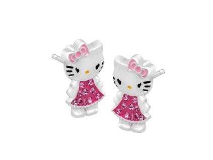 Hello Kitty stříbrné náušnice