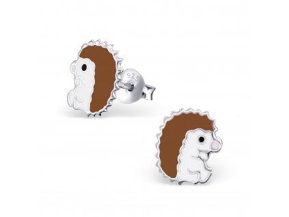 Dětské stříbrné náušnice ježek