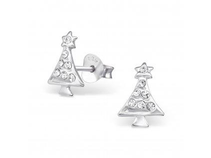 Dětské stříbrné náušnice vánoční stromeček