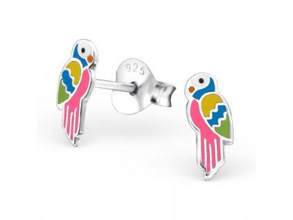 Dětské stříbrné náušnice papoušek