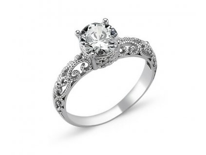 stříbrný prsten zásnubní OLIVIE